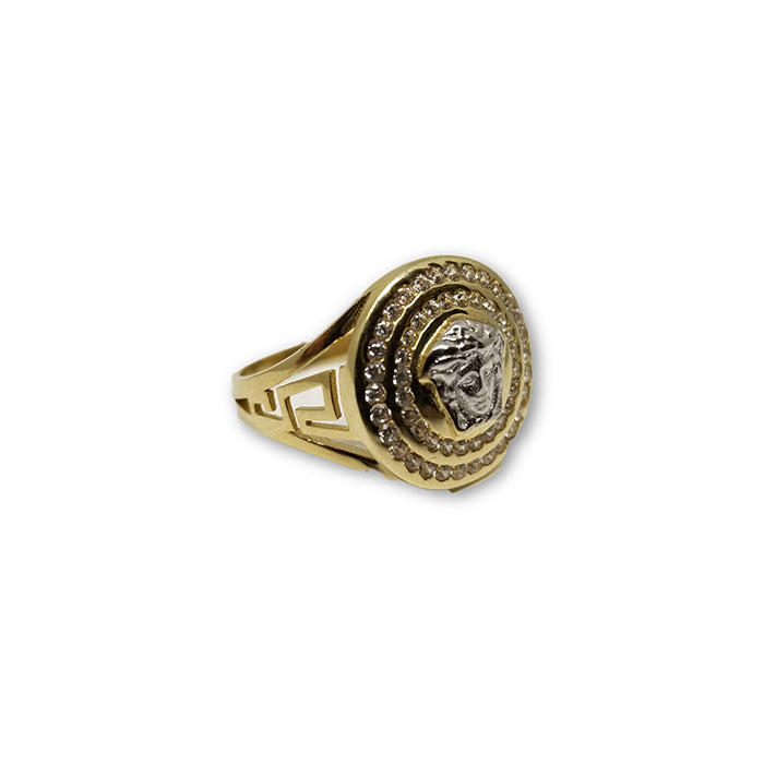 Bague Versace Style Rond en or jaune 10 karat MGR_096 - OR QUEBEC