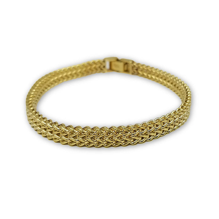 Bracelet Franco double maille style unique en or 10 k Italien 7mm MBG-090 - OR QUEBEC