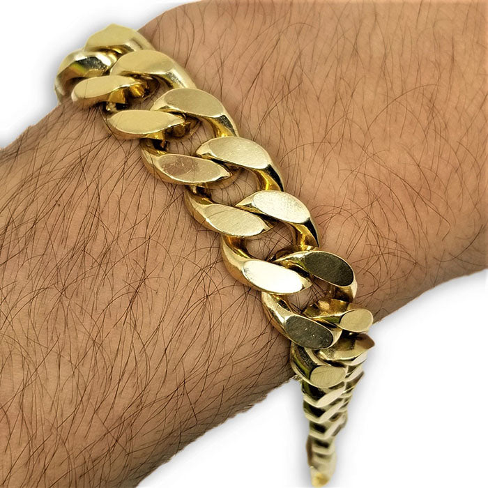 Bracelet Miami cuban Link 14K Solid Remplie 14mm MBG-091 - OR QUEBEC