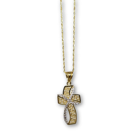 10K Or Jaune Singapour Femme Versace Croix Collier MNG-330 - OR QUEBEC