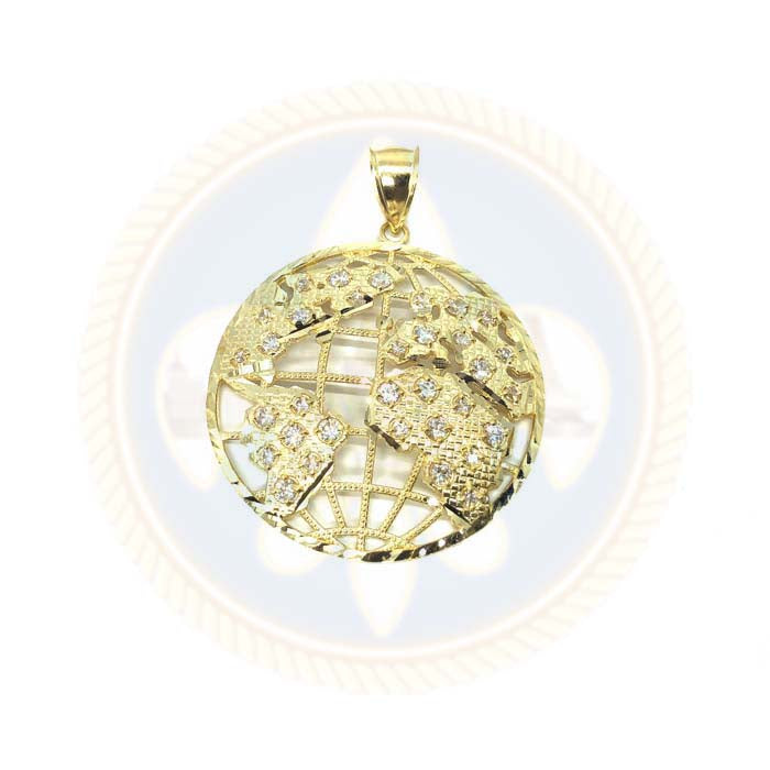 Pendentif Diamond Cut Globe avec Zircons en or 10K XL MPG-386 - OR QUEBEC