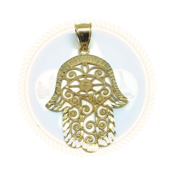 10K Pendentif Homme Mains De Fatima or jaune XL MPG-409 - OR QUEBEC