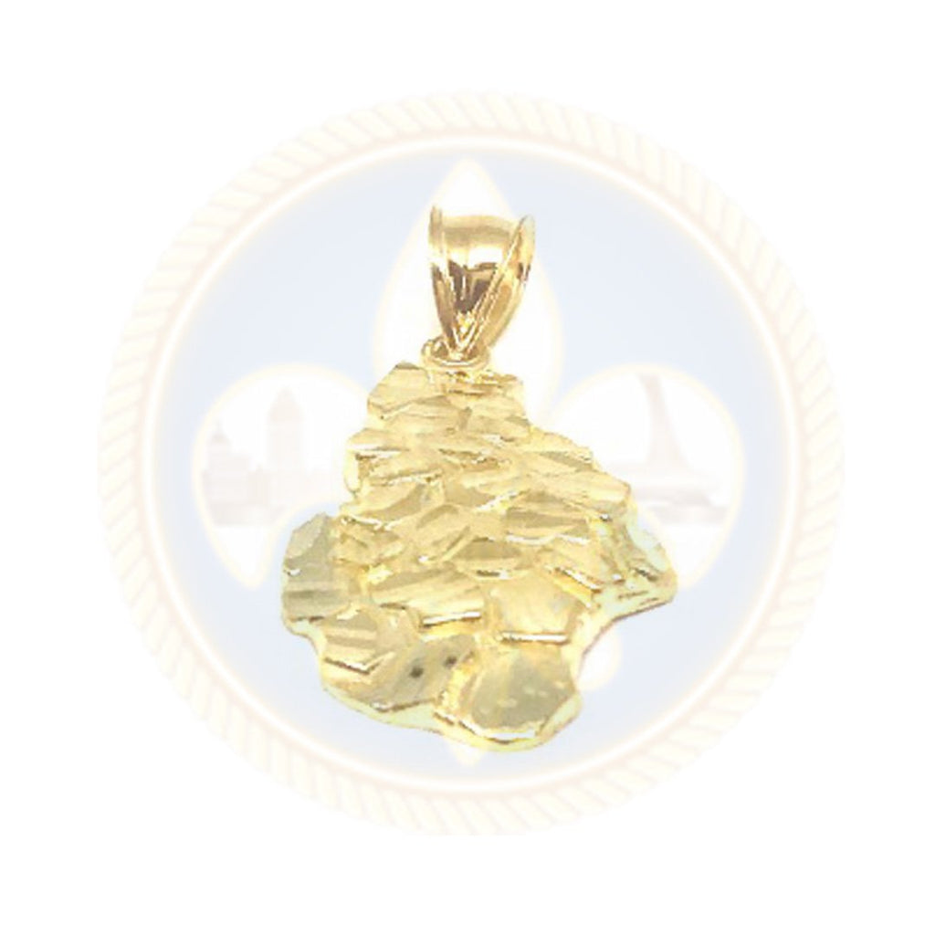Pendentif Nugget en or 10K avec finition Diamond Cut NUG_005 - OR QUEBEC