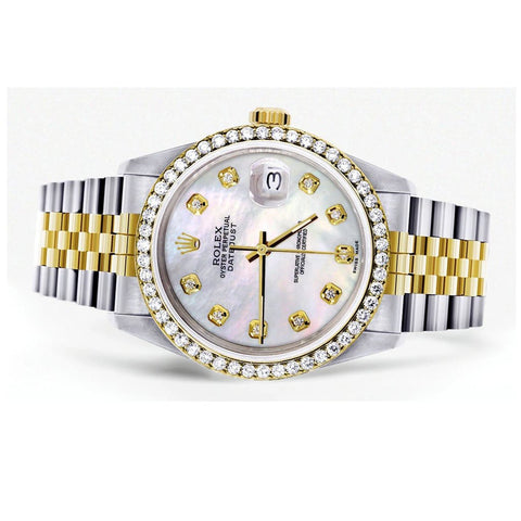 Montre Rolex Diamond Gold pour homme 16233 | 36Mm | Nacre blanche | Jubilee Band