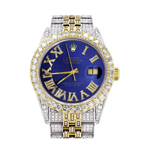Iced Out Rolex Datejust 36 MM |  Deux tons | 10 carats de diamants | Cadran bleu diamant romain