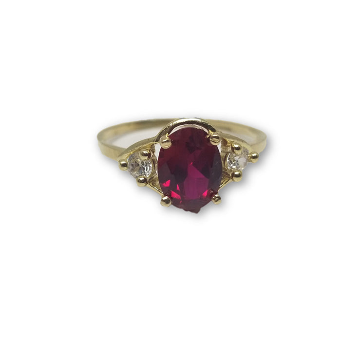 10K Or Jaune Bague Pierre Rouge Femme WGR-125 - OR QUEBEC