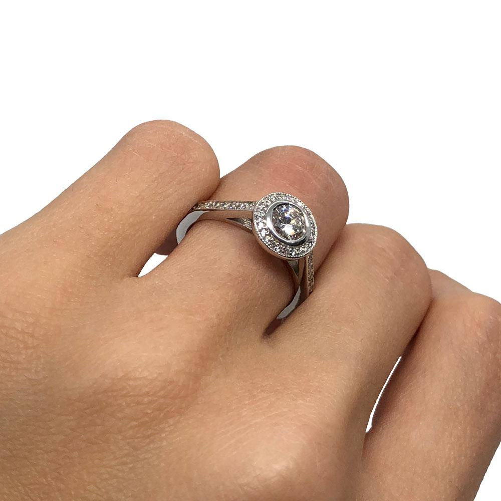 Engagement Ring White gold Diamonds , Bague Fiancailles Or Blanc
