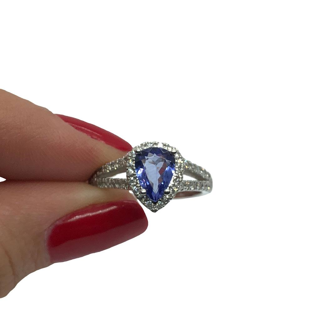 * Ariana * Bague Marriage Femme en or blanc 14K avec tanzanite 0.98CT Diamants 0.65CT - OR QUEBEC