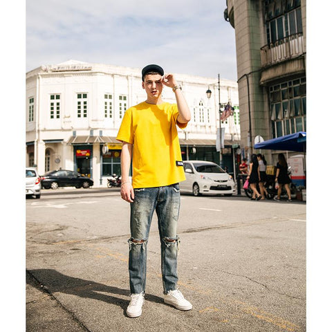 Fashionable Men's Cotton Yellow T-shirt