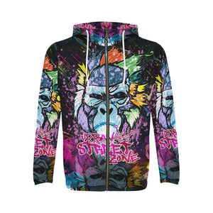 All Over Print Full Zip Hoodie For Men - Gorilla Hoodie All Over Print Full Zip Hoodie For Men (Model H14)