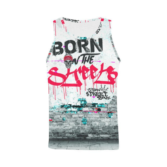 All Over Print Tank Top For Men - Born On The Streets Tank Top