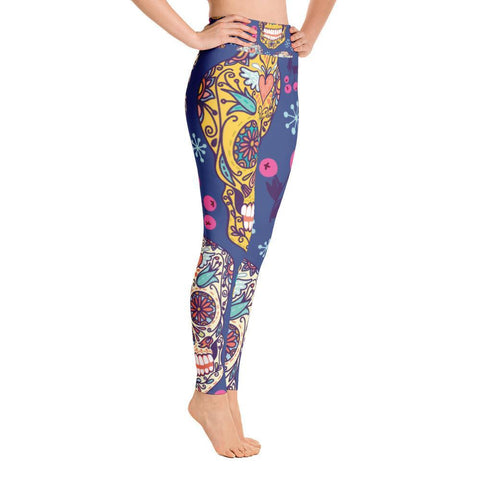 Blue Sugar Skull Yoga Leggings