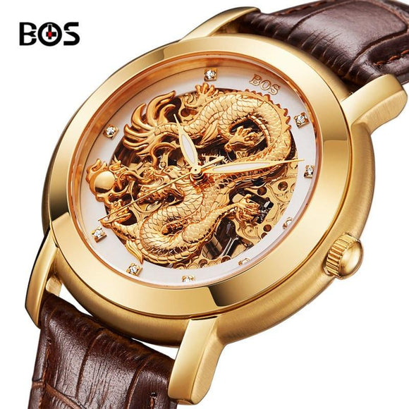 BOS Gold Dragon Rhinestones Luxury Watch