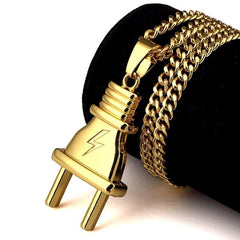 DOPE Gold Power Plug Necklace