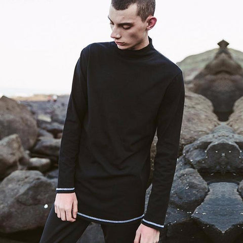 Fashionable Cotton Turtleneck Men's T-shirt