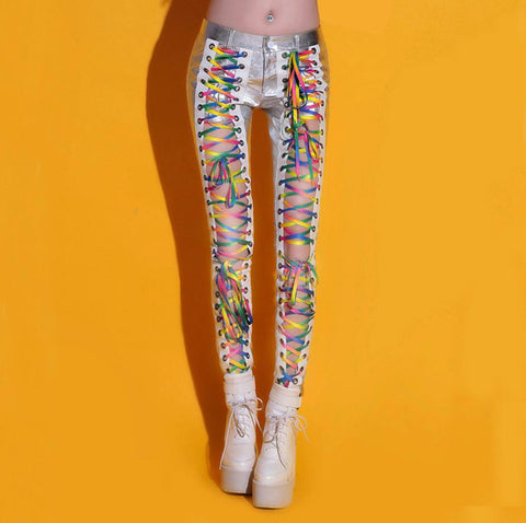 Funky Silver Club Dance Hollow Out Pants
