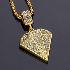 Gold Diamond Rhinstone Hiphop Necklace