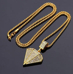Gold Diamond Rhinestone Hiphop Necklace