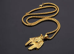 Gold Egyptian Pharaoh Rhinestone Necklace