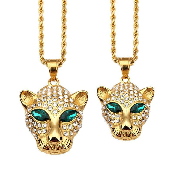 Gold Leopard Green Eye Rhinstone Necklace