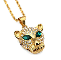 Gold Leopard Green Eye Rhinestone Necklace