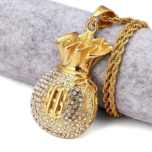 Gold Money Bag Rhinstone Hiphop Necklace