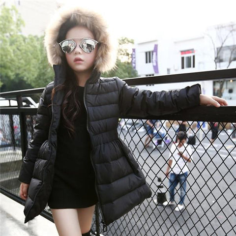 Jacket - Girls Fur Hooded Down Jacket