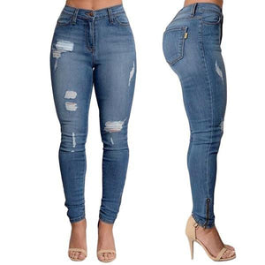 Jeans - High Waisted Ripped Soft Jeans