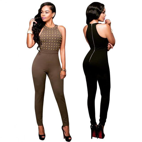 Jumpsuit - Back Zipper Skinny Bodysuit Club Wear