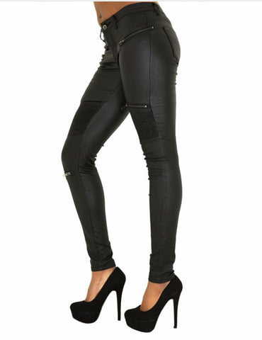 Leather - Black Urban Leather Zipper Pants