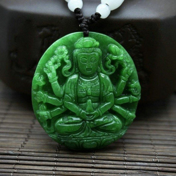 Necklace - Hand Carved Guanyin Jade Pendant Necklace