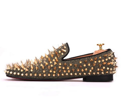 Gold Spike Rivet Loafers