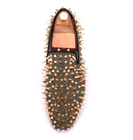 Shoes - Gold Spike Rivet Loafers