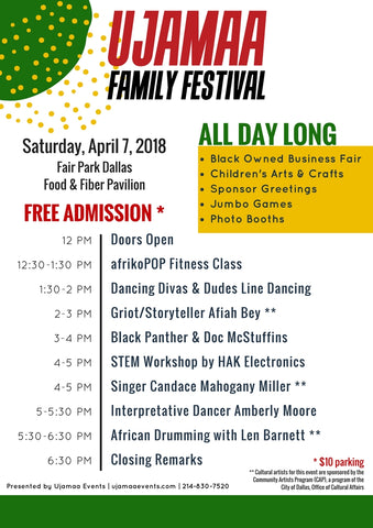 Ujamaa Family Festival Schedule of Events