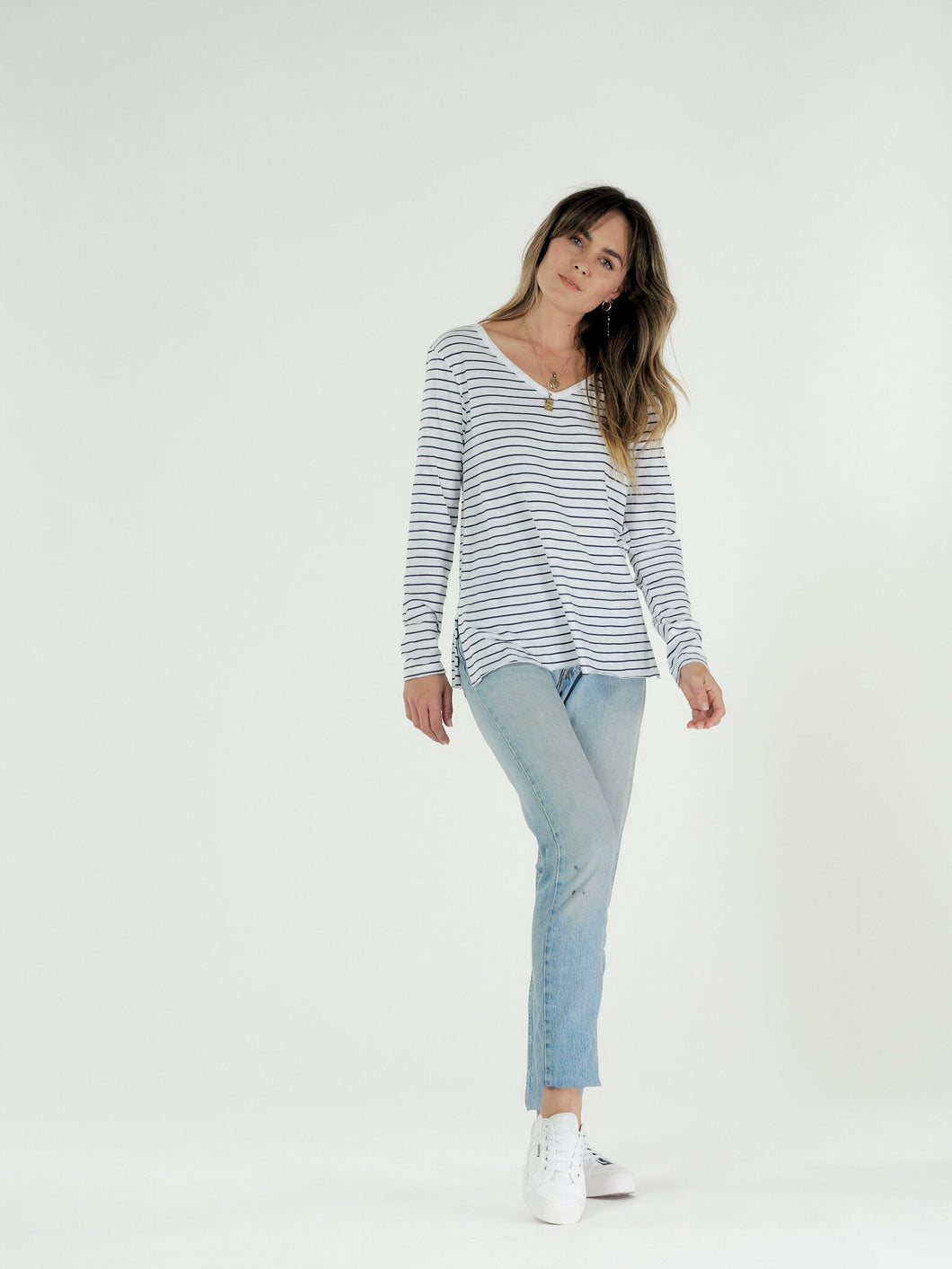 Cle' Organic Cotton Abigail Long Sleeve Tee - White/Indigo Stripe (PRE-ORDER)