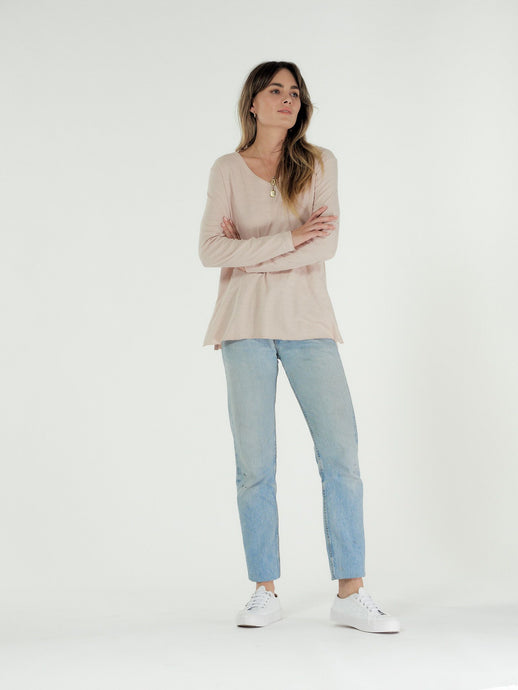 Cle' Organic Cotton Abigail Long Sleeve Tee - Blush (PRE-ORDER)