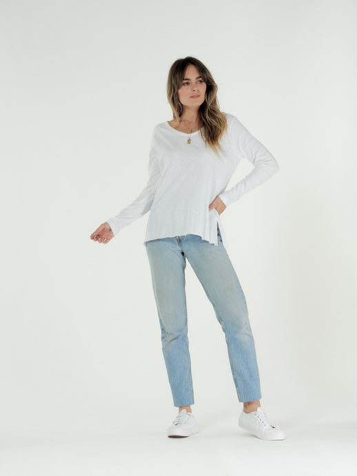 Cle' Organic Cotton Abigail Long Sleeve Tee - White (PRE-ORDER)