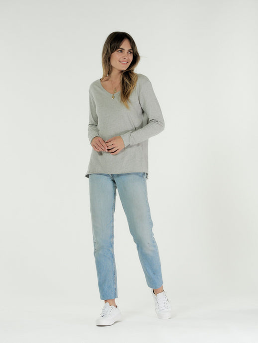 Cle' Organic Cotton Abigail Long Sleeve Tee - Marle Grey (PRE-ORDER)