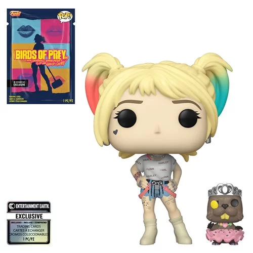 Funko POP! Birds of Prey - Harley Quinn and Beaver with Collectible Card  - Entertainment Earth Exclusive