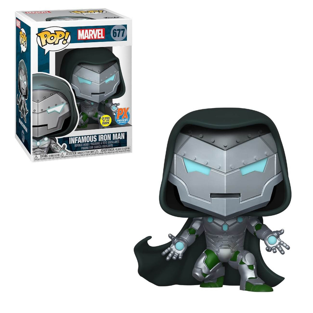 INFAMOUS IRON MAN #677 FUNKO POP GITD PX EXCLUSIVE LIMITED EDITION MARVEL