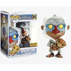 Funko POP! Lion King - Rafiki with Simba Diamond Collection Vinyl Figure #301 Hot Topic Exclusive (NOT 100% MINT)