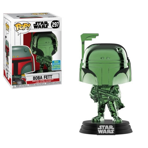 Funko POP! Star Wars - Green Chrome Boba Fett Vinyl Figure #297 2019 Summer Convention Exclusive (NOT 100% MINT)