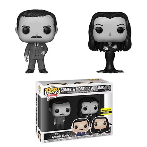Funko POP! The Addams Family - Morticia and Gomez Addams Black-and-White 2-Pack Entertainment Earth Exclusive (NOT 100% MINT)