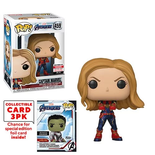 Funko POP! Avengers: Endgame - Captain Marvel with Collector Cards #459 - Entertainment Earth Exclusive (NOT 100% MINT)