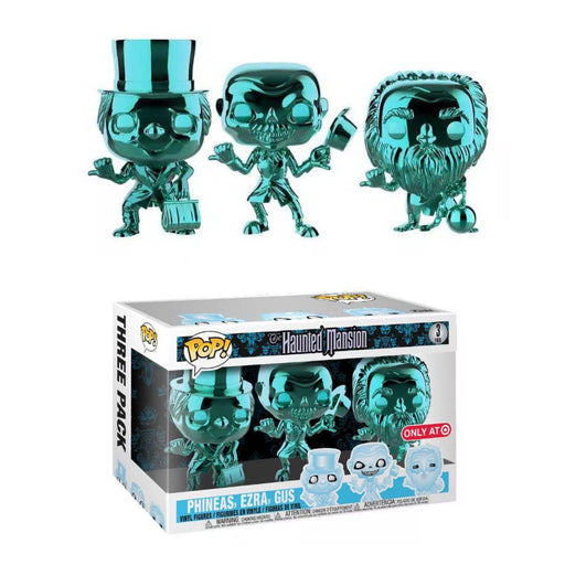 Funko POP! Haunted Mansion - Phineas, Ezra, and Gus (Hitchhiking Ghost) Chrome 3-Pack Vinyl Figure Target Exclusive [READ DESCRIPTION]