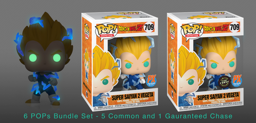 Funko POP! Dragon Ball Z - Super Saiyan 2 Vegeta 6-Pack with Chase Bundle Preview Exclusives (PX)