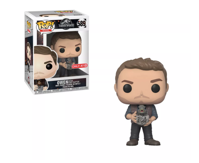 Funko POP! Jurassic World: Fallen Kingdom - Owen with Baby Raptor Vinyl Figure #589 Target Exclusive (NOT 100% MINT)