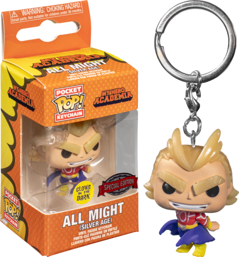 Funko POP! Keychain: My Hero Academia - All Might (Silver Age) Glow in the Dark Pocket Keychain Special Edition Exclusive