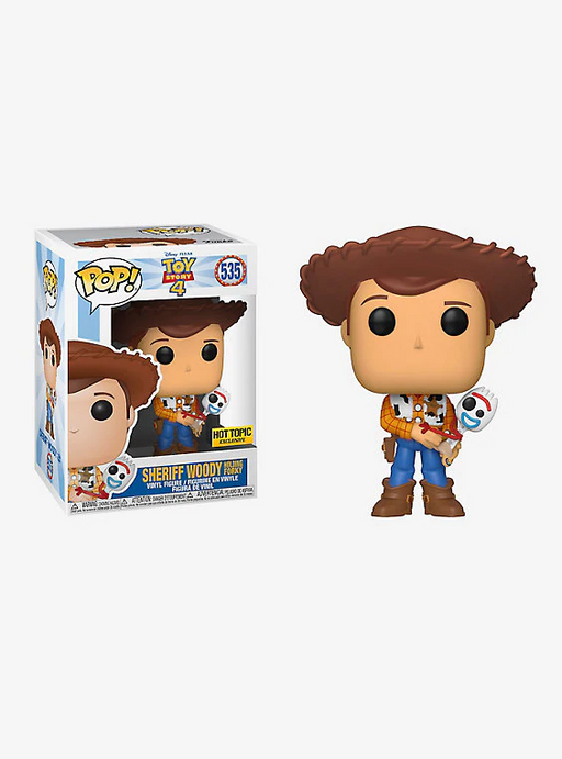 Funko POP! Toy Story 4 - Sheriff Woody Holding Forky Vinyl Figure #535 Hot Topic Exclusive (NOT 100% MINT)