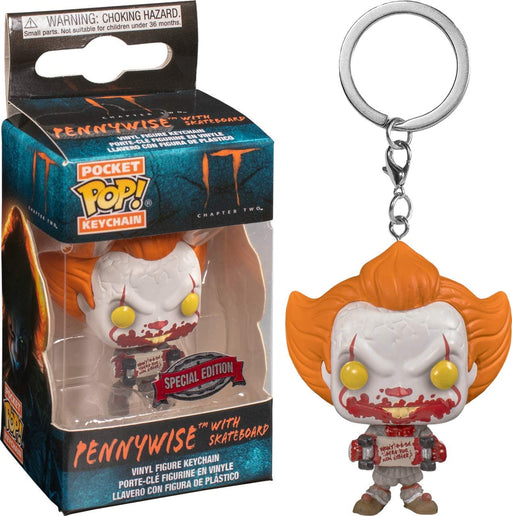 Funko POP! Keychain: It - Pennywise with Skateboard Pocket Keychain Special Edition Exclusive